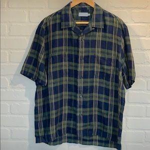 Vince NWOT men's plaid shirt sleeve linen shirt